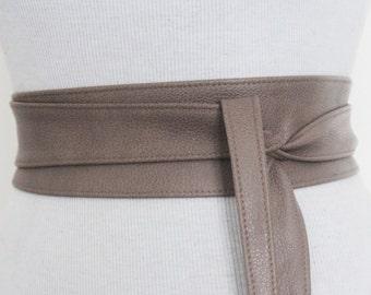Taupe Brown Leather Obi Belt | Leather tie belt | Real Leather Belt| Handmade Corset Belt | Plus size belts
