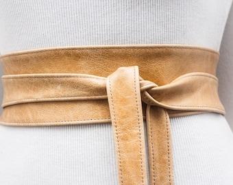 Distressed Light Tan Leather Obi Belt | Wrap Belt | Leather tie belt | Real Belt| plus size