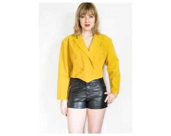80s Cropped Jacket | Yellow Crop Jacket | Vintage Jacket | 1980s Short Jacket - Size M Medium