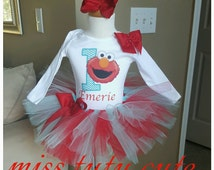 Elmo 1st birthday in aqua and red, 1st birthday tutu set, tutu outfit, tutu onesie, and headband or clip