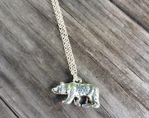 Bear Necklace, Charm Necklace,  Necklace, California Bear Charm