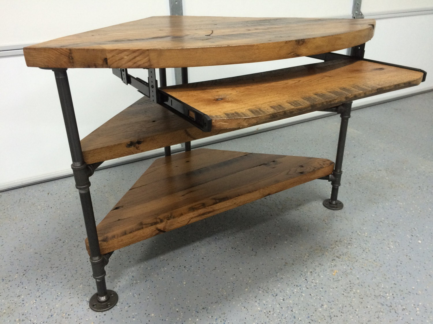 reclaimed wood corner table desk solid oak w/ black iron pipe