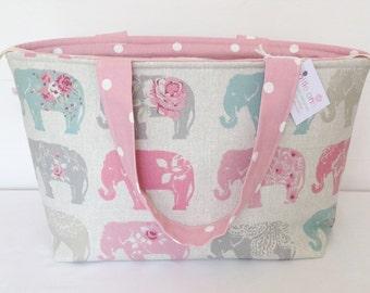 Elephant Zippered Bag, Medium Tote Bag, Pink Fabric Bag
