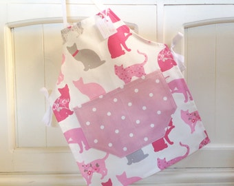 Child's Cats Apron, Child's Apron, Pink Dotty Apron