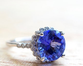 4.35 Carat Tanzanite And Diamond Ring- Appraised And Graded