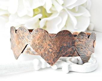 Hammered Copper Bracelet - Hammered Heart Copper Bracelet - Handmade Copper Heart Bracelet - Copper Heart Bracelet - Texture Copper Bracelet