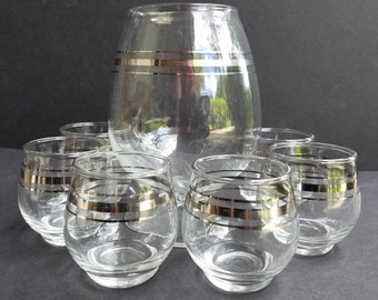 Silver Banded Brandy Snifter Drink Set with 6 Small Glasses