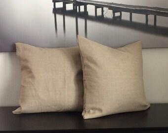 Natural Linen Throw Pillow