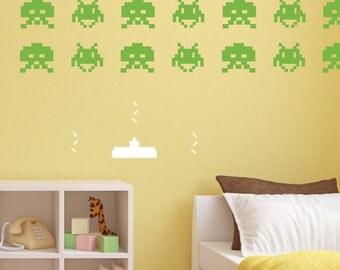 Invaders Wall Vinyl - Nursery Decor, Nursery Art, Children's Room Decor, Children's Room Art, Children's Wall Art