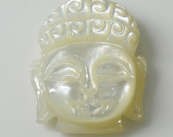 42.00cts 100% Natural Mother Of Pearl Gemstone Buddha Face Hand Carved 29*23*7h