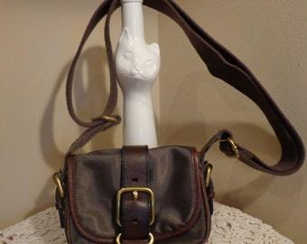 FOSSIL Purse, Handbag, Crossbody Bag, Adjustable Shoulderbag, With Buckle Detail, Fossil Embossed Emblem Lining, Wide Brown Canvas Strap