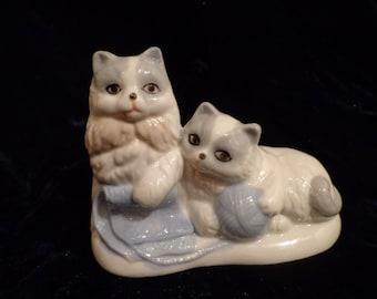 Playful Kittens Figurine, Whimsical Kittens with Yarn Display, Kittens Art, Kitten Lover Display, Kitten Lover, Cat Lover Art