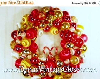 "30% OFF VALENTINE SALE Vintage 19"" Christmas Ornament Wreath Red Gold White Mercury Glass Ornaments Christmas Decoration"