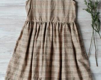 GIRLS Jumper Dress - plaid dress - Gathered Dress - Girls Amish Dress Mennonite Dress Girl's Plain Dress Child's Plain Dress Girl's Modest