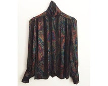 80s JERRI SHERMAN high neck silk blouse - Vintage Paisley Printed Sheer top - Victoriana metallic puffed sleeves