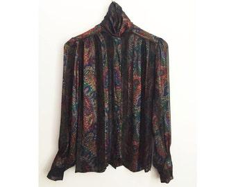 80s JERRI SHERMAN high neck silk blouse - Vintage Paisley Printed Sheer top - Victoriana metallic puffed sleeves
