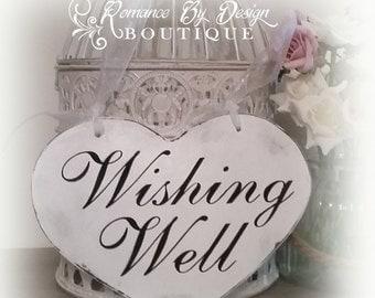 Wishing Well Heart Shaped Wedding Sign