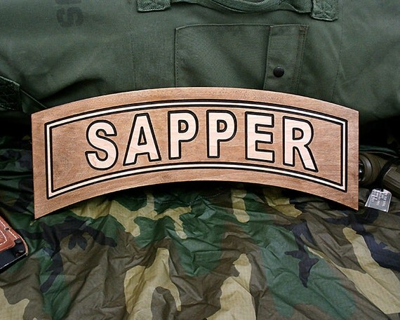 Inch army sapper tab wood carving on hard maple with