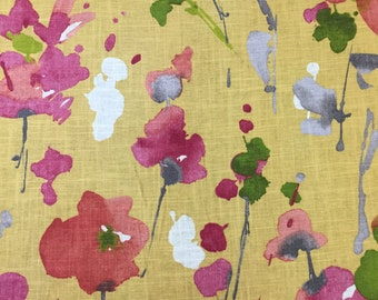 Watercolor Floral Fabric - Yellow, Pink, Green, and Blue - Upholstery Fabric by the Yard