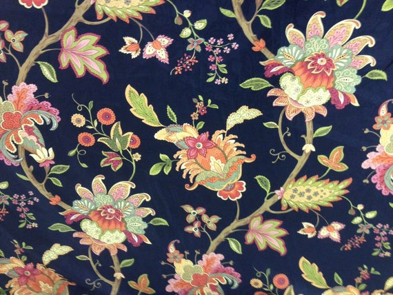 Home Decor Fabrics By The Yard: Vibrant Floral And Black Fabric