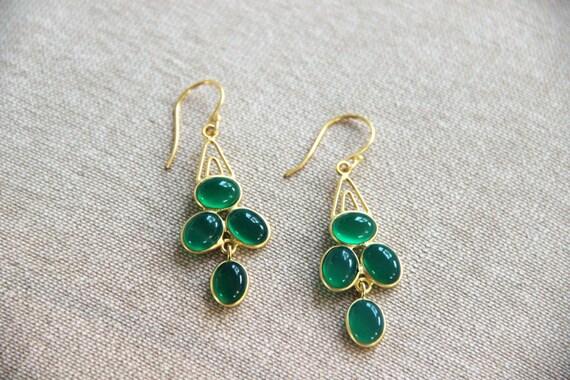 Natural Emerald Green Onyx Gemstone Earrings