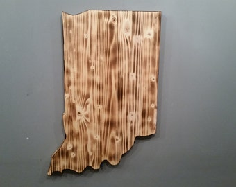 Rustic Indiana State Sign/Plaque, Add a heart to your location