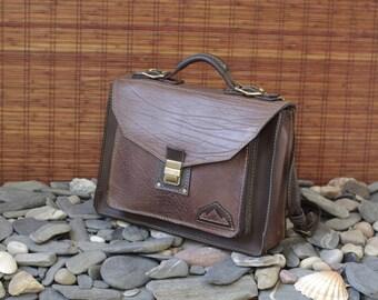 schoolbag, briefcase, satchel, computer bag, brown leather