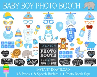 PRINTABLE Baby Shower Photo Booth Props–Baby Shower Photo Booth Sign–It's a Boy-Baby Shower Boy Props-Printable Baby Props-Instant Download