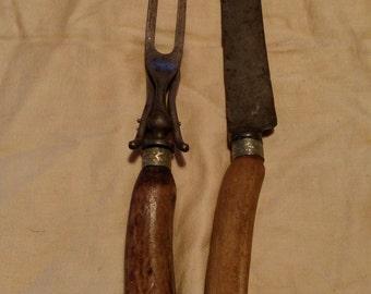 Vintage wooden carving utensil set