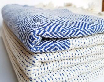 BOHO BLANKET, Turkish blanket, Turkish towel, bedspread, festival blanket, fringed throw, beach blanket, picnic blanket, jacquard, handmade
