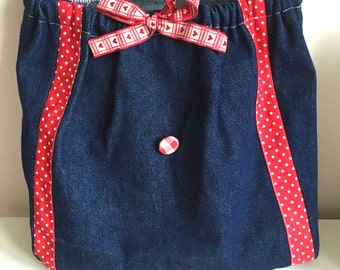 Girls Drawstring Backpack in Denim and Red Cotton