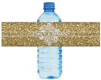 Gold Glitter and Lace Wedding Water Bottle Labels Great for Engagement Bridal Shower Party easy to apply and use