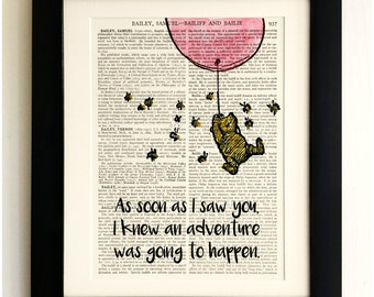 ART PRINT on old antique book page - Winnie the Pooh, Pink Balloon, Vintage Upcycled, Wall Art Print, Encyclopaedia Dictionary Page
