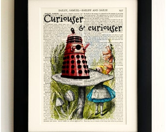ART PRINT on old antique book page - Alice with the Dalek, Doctor Who, Vintage Wall Art Print, Encyclopaedia Dictionary Page