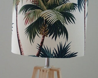 tropical palm print barkcloth lamp shade, hawaiian palm print lamp shade, palm print lamp