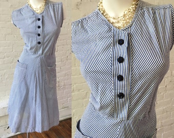 Vintage Sleeveless Blue and White Stripe Dress