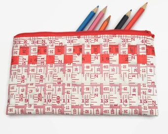 Red and White Tape Measure Pencil Case, Back to School Gift, Sewing Storage