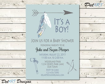 Boho Baby Shower Invitation, Boho Baby Shower Save The Date, For Boy, Tribal
