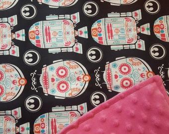 Star Wars Sugar Skull Minky Blanket / Choose Size & Color / C3PO R2D2 / Baby Toddler Child Shower Gift / Geek Nerd
