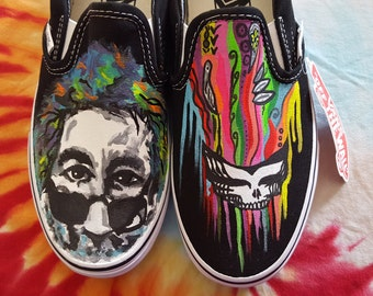 Jerry Garcia steal your face Grateful Dead custom Vans