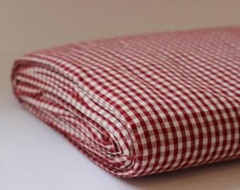 Organic Red Gingham 100% Cotton Fabric