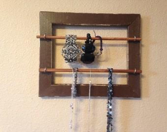 Ready to ship brown  necklace holder, bracelet, distressed jewelry frame, jewelry organizer