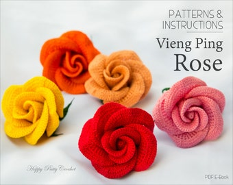 Crochet Applique Pattern - Vieng Ping Rose - Crochet Rose Pattern - Rose Flower Applique Pattern - INSTANT DOWNLOAD