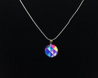 ON SALE NEW geometric colourful wood necklace, Pendant necklace. silver setting necklace, pendant, multi colour pendant