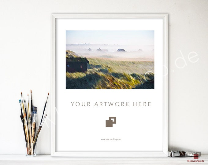 8x10 WHITE FRAME MOCKUP // Artist Brush // Frame for Paintings // Mockup Frame for Photography // Empty Frame Mockup // white Mockup Frame