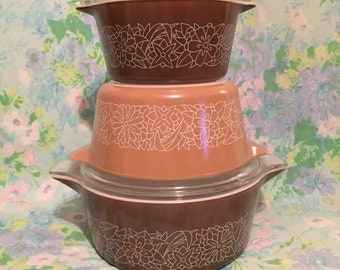 Vintage pyrex woodland casseroles 473 474 and 475