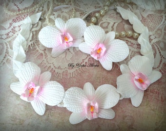 Orchid necklace and earrings from polymer clay, White Orchid, Flowers jewelry set, Wedding Orchid, Flower necklace, Bride necklace