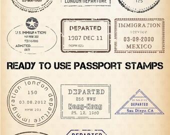 PASSPORT STAMP Clipart - 24 Digital Clip Art Images - EDITABLE Templates - Vintage Travel Graphic - Instant Download - Bonus Images