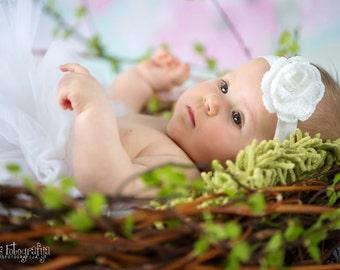 White Baptism Headband - Christening Headband - Baby Headband -  Crochet Flower Headband - Special Occasion Headband