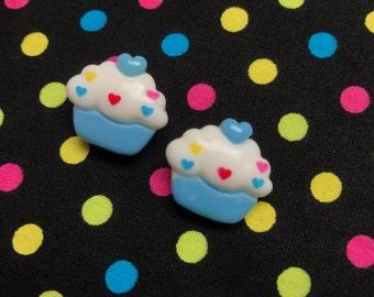 Blue Cupcake Stud Earrings